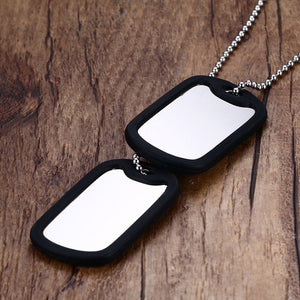 "Stainless Steel Double Dog Tag Necklace Pendant Men Jewelry 24"" Chain"