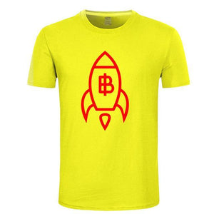 Newest fashion Designer Bitcoin Rising by Rocket T Shirts Men Women Creative printed T-Shirt Cotton Short Sleeved Tops Tees