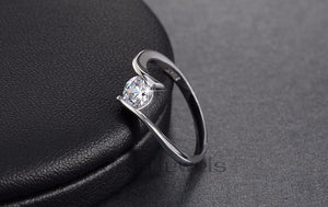Luxury Austrian Crystal Solitaire Ring Silver Color Lead & Nickel Free Ring for Women