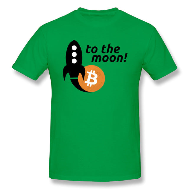 Men's T Shirt Bitcoin To The Moon Youth Crewneck Short Sleeve Tshirs Hot 100% Cotton Selling Men Printing On Tee Shirts