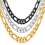 Mens Necklaces Stainless Steel Black/Gold Color 5MM Choker/Long Figaro Chain Necklace Men Jewelry