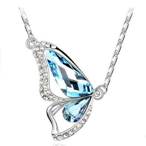 Cubic Zircon Crystal Silver color Jewelry Butterfly Pendant Statement Jewelry Women Fine Jewelry Charming Style