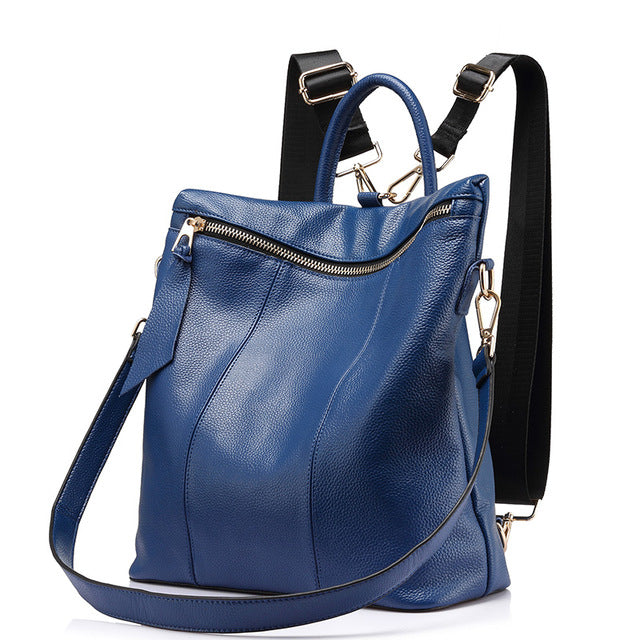 Genuine Leather Women Large Travel Backpack Blue Color