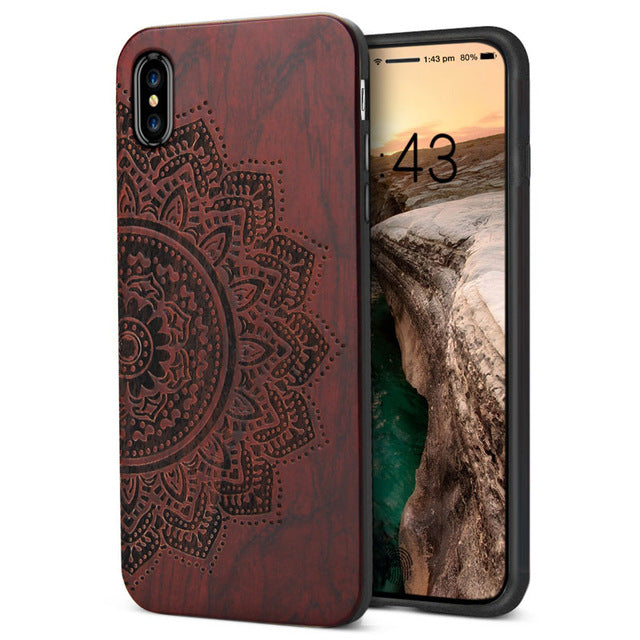 For iPhone X Case Ultra Slim Natural Wood Engraving Hard Back Cover For Apple iPhone X Luxury TPU Phone Cases For iPhoneX Shell