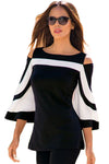 Women Blouse Black White Colorblock Bell Sleeve Cold Shoulder Top Mujer Camisa Feminina Office Ladies Clothes