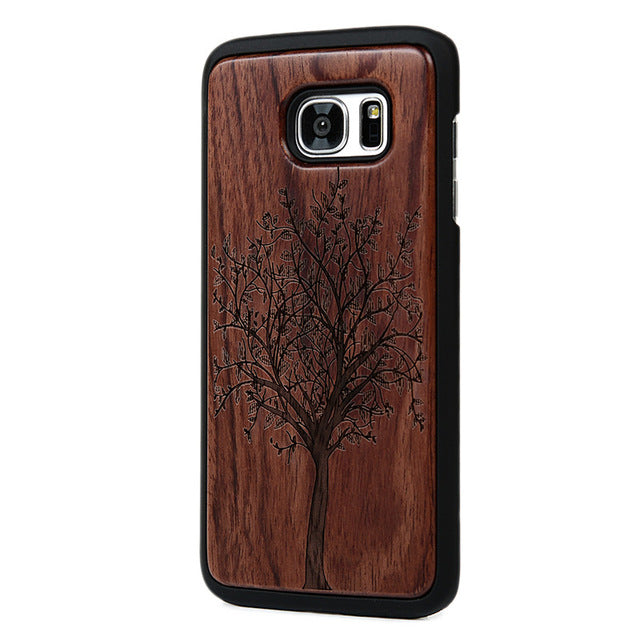 Bamboo Traditional Sculpture Wood Back Wooden Phone Case For Samsung Galaxy S7 / S7 Edge Hard Phone Cover
