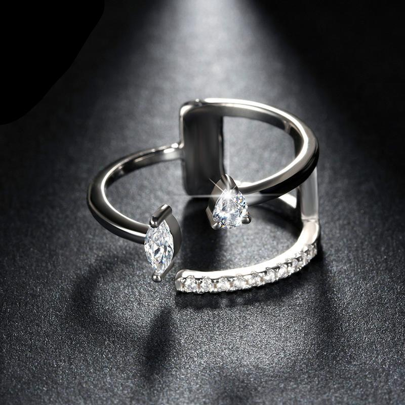 Popular Girls' Finger Adjustable Ring with Brilliant AAA Austrian CZ Silver Color Rings