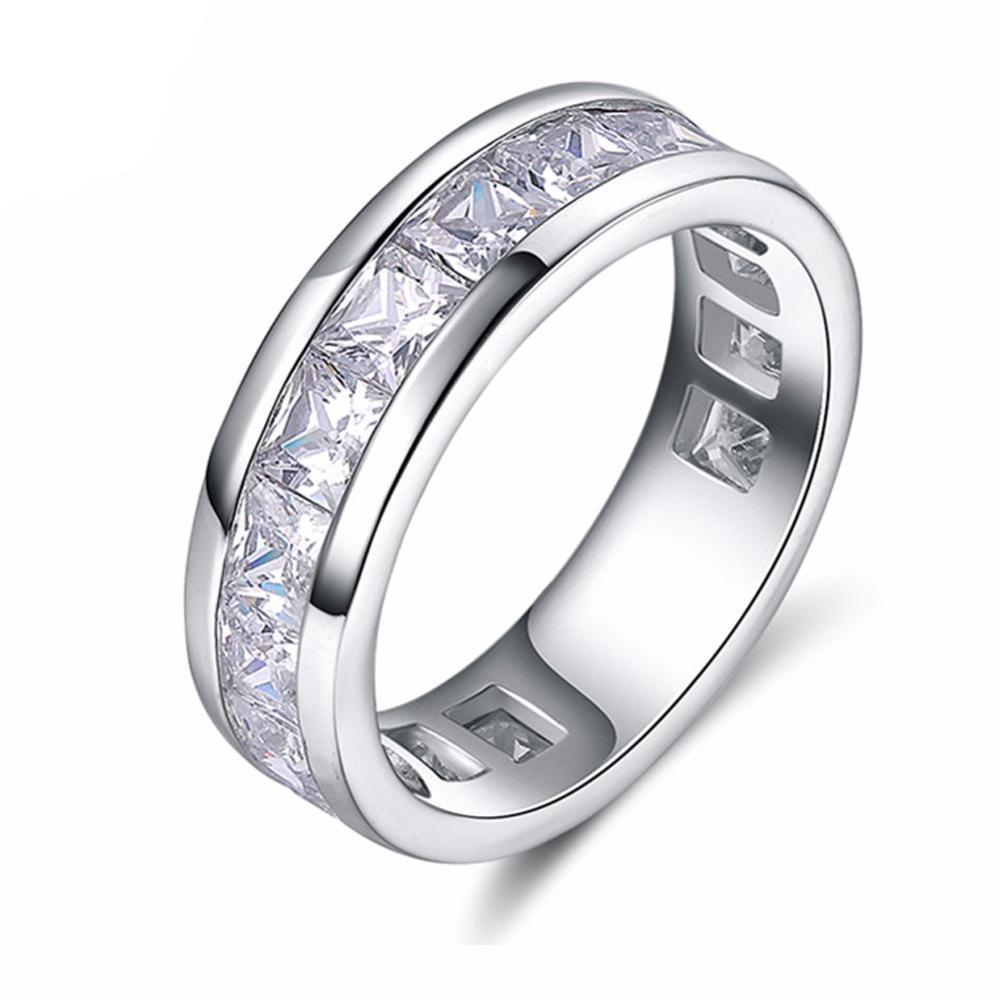 Fashion Silver Color Rings with 15 Pieces Shine AAA Austrian Cubic Zirconia Stones Wedding Rings for Men & Women
