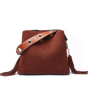 Tassel Genuine Leather Handbag Women Bag Female Shoulder Crossbody Bag Suede Leather Women Messenger Bag Bucket Tote Bag