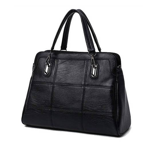 Fashion Ladies Hand Bag Women's Genuine Leather Handbag Black Leather Tote Female Shoulder Bag