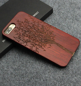 Luxury Carving Clouds Totem Wooden Phone Case for iPhone X 7 8 Plus with Natural Bamboo Wood TPU
