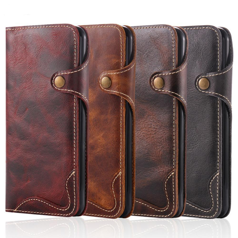 Real Genuine Leather Retro Flip Case With Magnetic Buckle Strap Wallet Pocket Mobile Phone Bags For iphone 6 7 8 plus