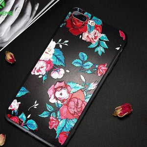 Flower Soft Phone Case For iPhone 6 6s Relief Rose Silicon Cases For iPhone 7 5s 5 8 8 Plus Cute Floral Cover