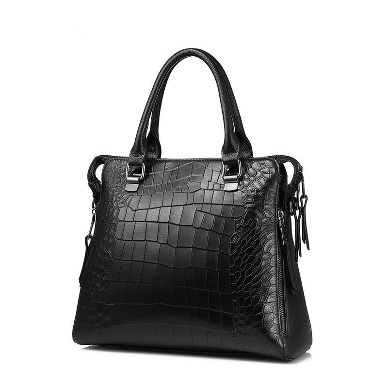 Women handbag genuine leather tote bag for work briefcase luxury alligator embossed leather top-handle shoulder bag