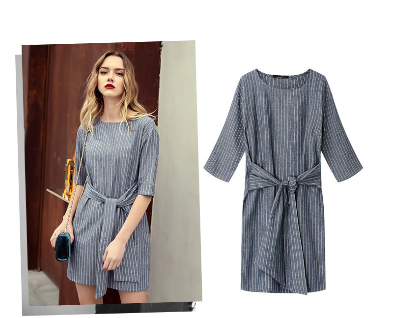 Women Casual Striped Dress Summer Short Sleeve Sashes Style Dresses For Female O-neck Straight Mini Party Vestidos