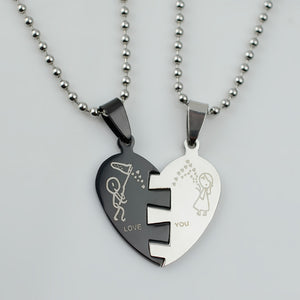 His & Hers Couples Heart Love Sweethearts Pendant & Necklace High Grade Stainless Steel Jewelry