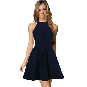 New Arrival Womens Cute Wedding Cocktail Sexy Nightclub Halter Neck Blackless A-Line Black Dress Short