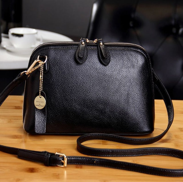 Genuine Leather Women Messenger Bag High Quality Crossbody Shell Bag  Cow Leather Small Women Fashion Shoulder Bag