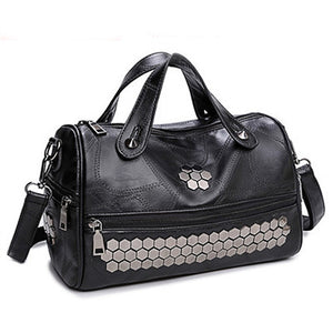 2018 new fashion casual thread rivet women handbag hotsale ladies black boston totes shoulder messenger crossbody bag