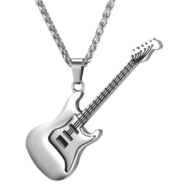 Guitar Necklace For Men/Women Music Lover Gift Black/Gold Color Stainless Steel Pendant & Chain Hip Hop Rock Jewelry