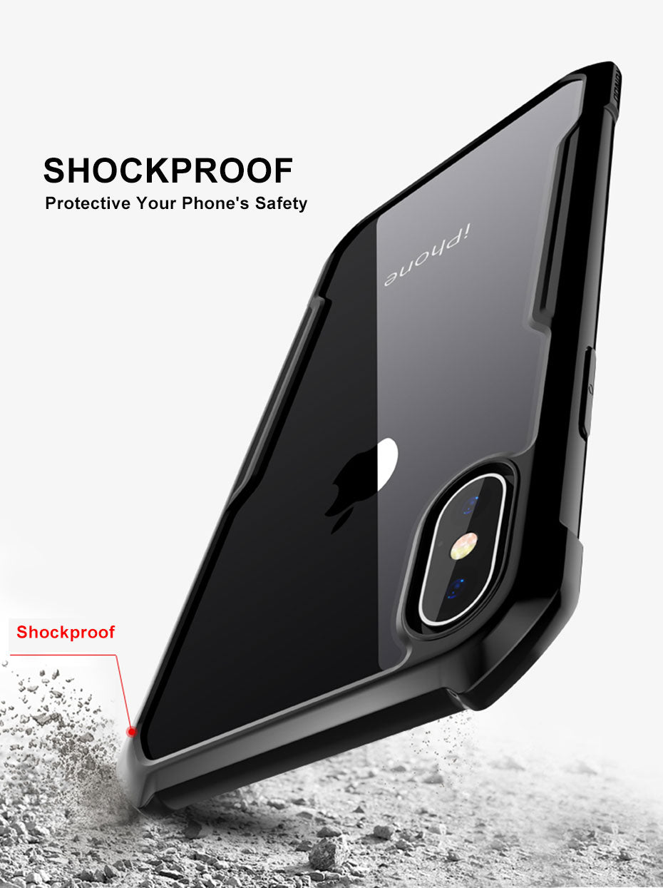 Luxury Ultra thin Transparent Case For iPhone X Xr Xs Max 6S 7 8 Plus Phone Shockproof Silicone 360 Full Protective Cover Cases