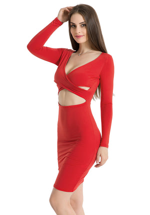 Criss Cross Bodycon Dress Women Long Sleeve Night Club Wear Party Dresses Black Red Blue