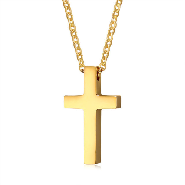 Classic Blank Cross Necklaces Prayer Christ Men Jewelry Stainless Steel Men Women Free Chain