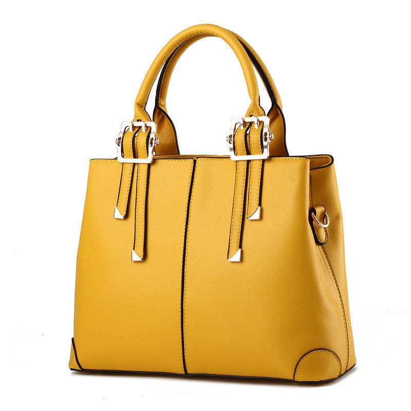 New Bags for Woman Elegant Classic Fashion Ladies Occident Style Handbags Solid Color Yellow Pink Green Red Totes