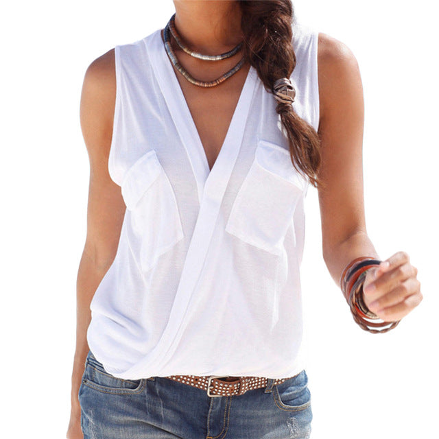 Fashion Solid Color Women Shirt New Sexy V-neck Sleeveless Women Blouse Casual Summer Blusas Chemise Femme Plus Size 3XL