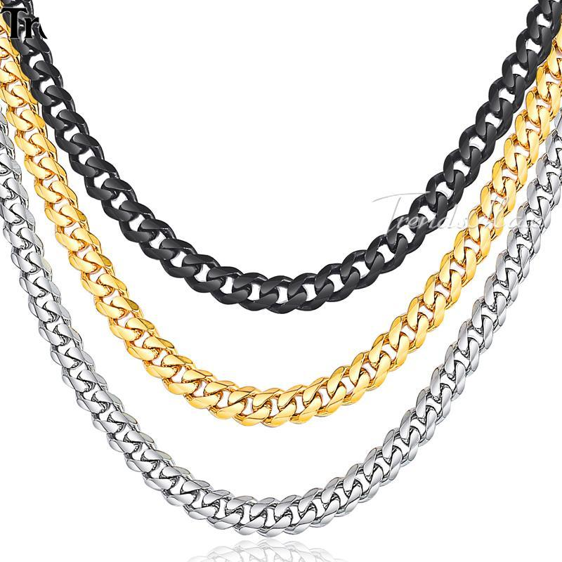 Stainless Steel Gold Silver Black Curb Miami Cuban Link Necklace Chain for Men