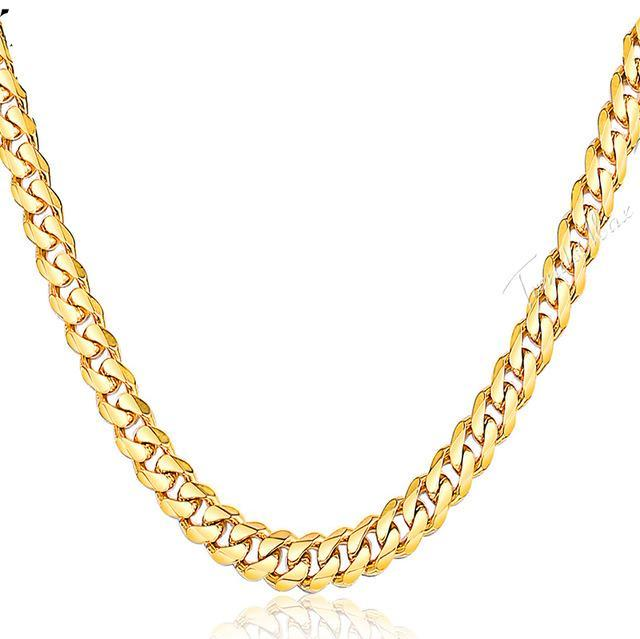 Stainless Steel Gold Curb Miami Cuban Link Necklace Chain for Men