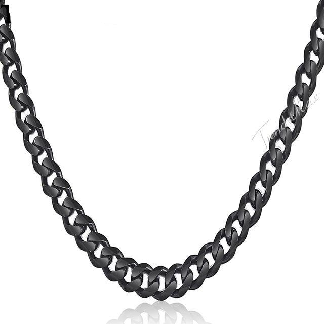 Stainless Steel Black Curb Miami Cuban Link Necklace Chain for Men