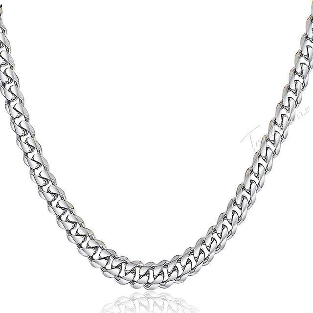 Stainless Steel Silver Curb Miami Cuban Link Necklace Chain for Men