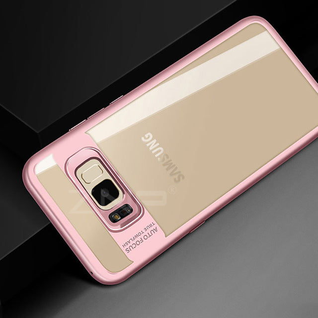 Luxury Silicone Phone Case for Samsung Galaxy S8 S9 Plus Note 8 Transparent PC & TPU Slim Case for Samsung S9 S8 Cover Case