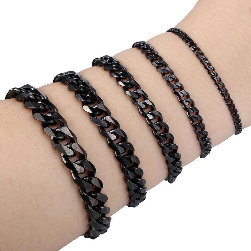 Boys Mens Chain Curb Black Stainless Steel Bracelet Fashion Jewelry