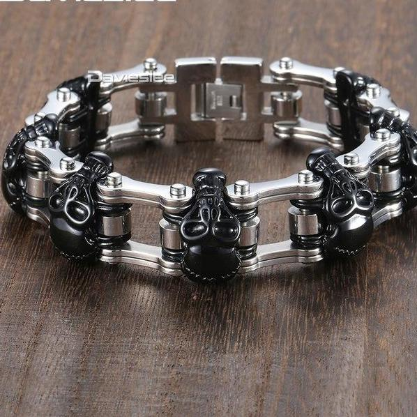 Skull Biker Men's Bracelet for Men Motorcycle Link 316L Stainless Steel Bracelet