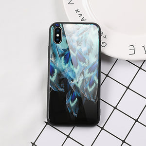 Tempered Glass Phone Case For iPhone 6 6S 7 8 Plus X Cool Colorful Peacock Feather Anti-Explosion Phone Back Cover Cases