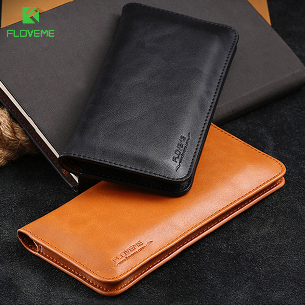 Universal Genuine Leather Wallet Case For iPhone X 10 6s 7 8 Plus For Samsung Galaxy Note 8 S8 S9 Plus S7 S6 Pouch Bag