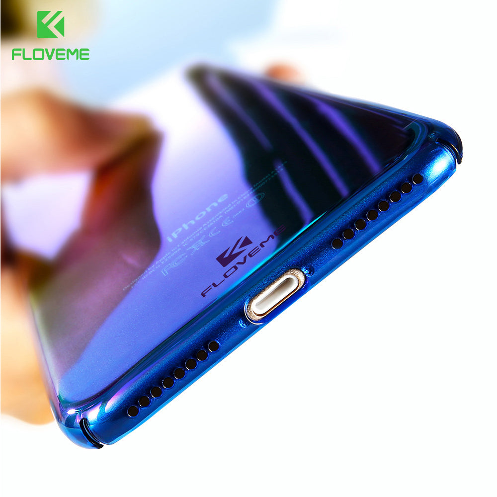 For iPhone X 6 6S Plus Case 5 SE Gradient Blue-Ray Light Case For Apple iPhone 7 8 Plus X 5 S SE Clear Accessories Cover