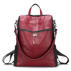 Women backpack genuine leather school backpacks for teenage girls oxford shoulder bag large capacity travel bags