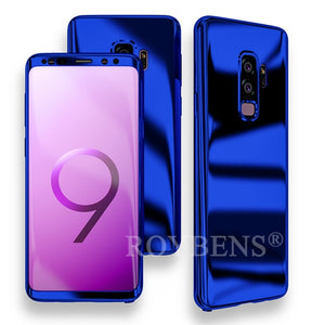 For Samsung Galaxy S9 Case Roybens Luxury Ultra Thin Bling Mirror 360 Full Protection Cover For Galaxy S9 Plus Case + Soft Film
