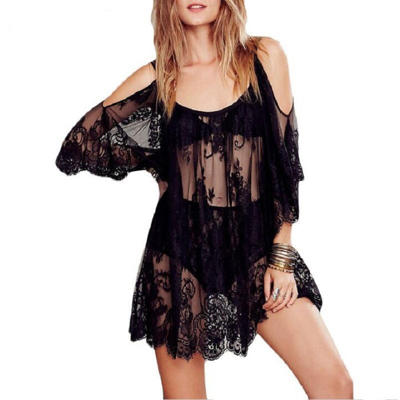 Summer Dress 2018 Off Shoulder Sexy Women Casual Sleeve Beach Mini Dress Vestido Fiesta Lace beach Dress wear Plus Size