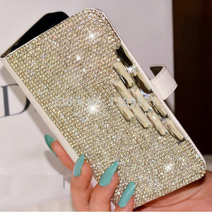 Dower Me Case For Iphone X 8 7 6S 5S 4 Samsung Galaxy S9/8/7/6 Edge Plus S5 Note 8 5 4 3 Bling Diamond Flip Wallet Leather Cover