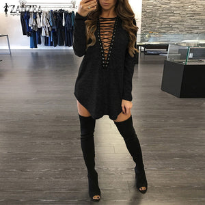 Women Sexy Mini Dress 2018 Spring Long Sleeve Bandage V Neck Long Blouses Tops Loose Casual Dress Vestidos Plus Size