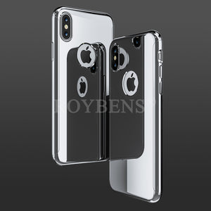 For iPhone X 8 7 Mirror 360 Degree Case Slim Thin Bling Glossy Full Body Temper Glass For iPhone 6 6S Plus Case Cover
