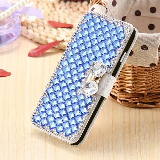 Samsung S9 Diamond Leathe Case 2018 Luxury Bowknot Crystal Flip Leather Case for Samsung S9 S8 Plus Card Slot Wallet Skin