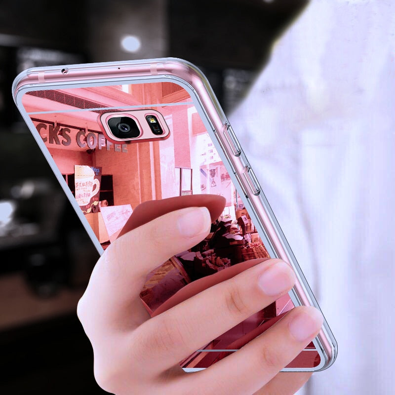 Original Luxury Mirror TPU Cases for Samsung Galaxy A3 A5 A7 J3 J5 J7 J1 2016 2017 S9 S8 Plus S6 S7 Edge Grand Prime Case Slim