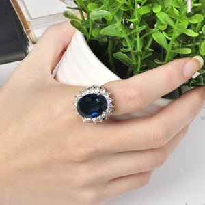 Women Luxurious Elegent Blue Crystal Wedding Ring Concise Jewelry Anillos Perfect