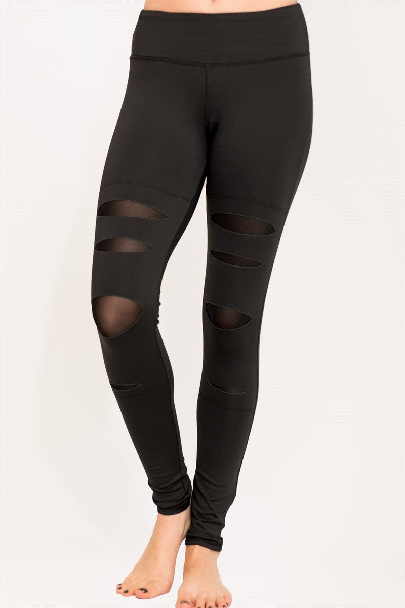 High performance legging with a cut out design Mesh Leggings