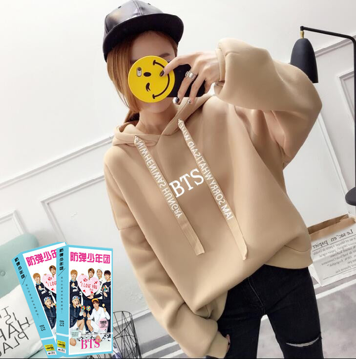 2018 BTS Hoodies Women Sweatshirts Print with Hood Oversized Hoodies Bts Pullover Sweatshirt New Kpop Ladies Hoodies Plus Size